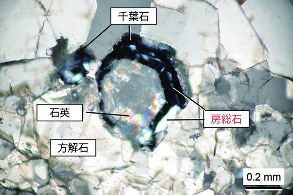 千葉石と房総石の偏光顕微鏡写真(直交ポーラー)